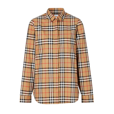 Burberry Vintage Check Cotton Shirt Antique Yellow