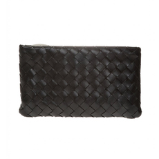 Bottega Veneta Medium Zipped Clutch Bag Black