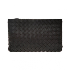Bottega Veneta Large Zipped Clutch Bag Black