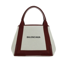 Balenciaga Navy Cabas S Tote Bag White/Black