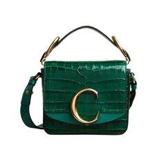Chloe Mini Chloé C Crocodile Embossed Crossbody Bag Woodsy Green