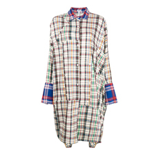 Loewe Oversized Plaid Shirt Dress Multicolor