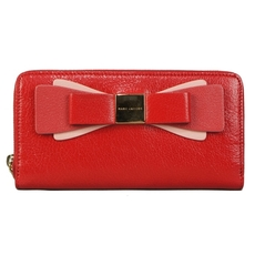 Marc Jacobs Tricolor Bow Zip Around Wallet Red