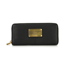 Marc Jacobs Metal Plate Zip Around Wallet Black