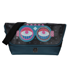 Mcm Eyes With Glasses Messenger Bag Black