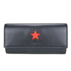 Givenchy Star Plain Leather Long Wallet Black