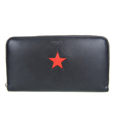 Givenchy Star Plain Leather Zip Around Wallet Black