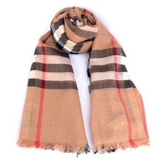 Burberry Lightweight Check Wool And Silk Scarf Camel