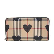 Burberry Horseferry Check Heart Zip Around Wallet Black