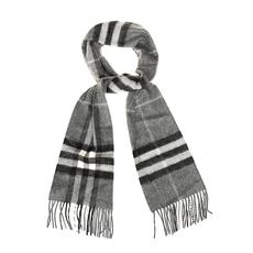 Burberry Classic Check Cashmere Scarf Mid Grey