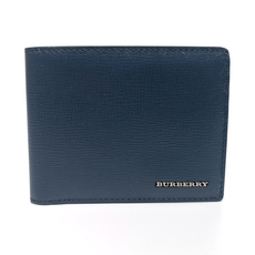 Burberry Leather Bi-Fold Wallet Blue