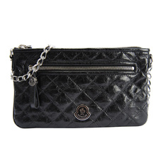 Moncler Leather Shoulder Bag Black