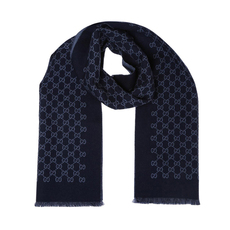 Gucci Double Jacquard Gg Wool Scarf Blue
