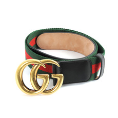 Gucci Web Belt With Double G Buckle Green/Red