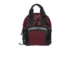 Miu Miu Denim Backpack Black/Burgundy