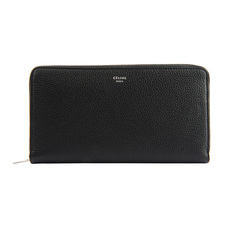 Celine Large Zipped Multifunction Leather Long Wallet Black/Yellow