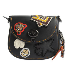 Coach 1941 Varsity Patch Turnlock Saddle 17 Crossbody Bag Black