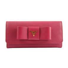 Prada Ribbon Bow Flap Wallet Fuchsia