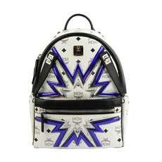 Mcm Dual Stark Cyber Flash Small Backpack White