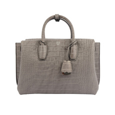 Mcm Medium Milla Croc Embossed Leather Tote Grey