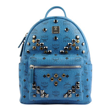 Mcm Studded Stark Small Backpack Blue