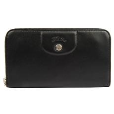 Longchamp Zip Around Wallet Black
