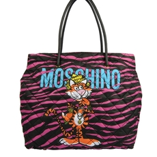 Moschino Jewelled Tiger Print Tote Bag Pink/Black