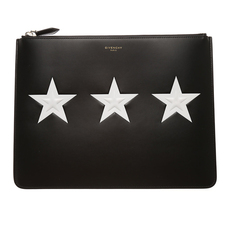 Givenchy Large Contrasted Stars Clutch Black