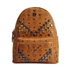 Mcm Studded Stark Medium Backpack Cognac