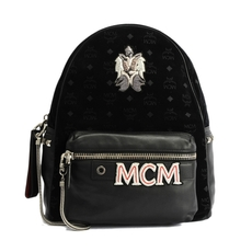 Mcm Stark Velvet Insignia Backpack Black