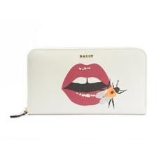 Bally Lip Print Zip Around Wallet White