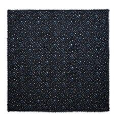 Saint Laurent Étoiles Large Square Scarf In Black And Blue Star
