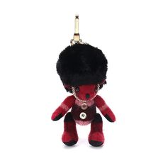 Burberry Vintage Check Cashmere Guardsman Thomas Bear Bag Charm Parade Red