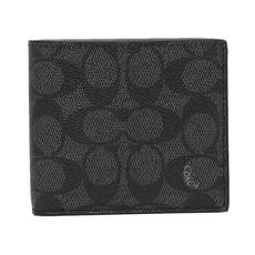 Coach Coated Canvas Coin Bi-Fold Wallet Charcoal
