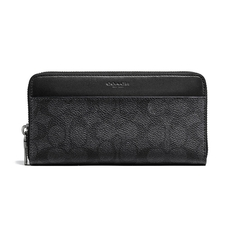 Coach Signature Coated Canvas Zip Around Wallet Charcoal Black