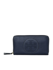Tory Burch Perforated Logo Zip Around Wallet Blue
