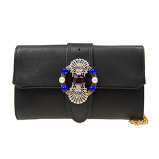 Miu Miu 2Way Clutch Shoulder Bag Black