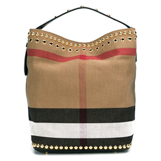919b8480e8f1 Burberry The Medium Ashby Tote in Riveted Canvas Check Black
