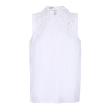 Miu Miu Flower Lace Collar Sleeveless Top White