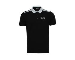 Ea7 Contrast Panel Inserts To Shoulders And Hem Polo Tee Black