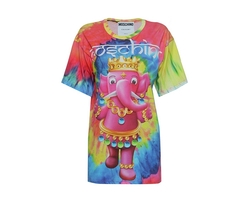 Moschino Elephant Print Oversize T-Shirt Multicolor