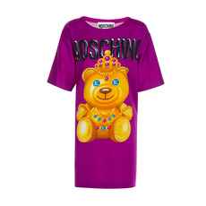 Moschino Crowned Teddy Oversize T-Shirt Fuchsia