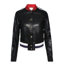 Gucci Embroidered Leather Bomber Black