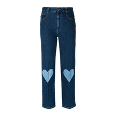 Stella Mccartney Cropped Heart Embrodery Jeans Blue