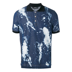 Dsquared2 Frayed Edges Splattered Bleach Effect Polo Tee Blue