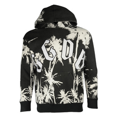 Golden Goose Print All Over With Logo Patch On Front Hoodie Black Palms