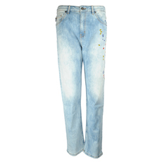 Love Moschino Fringed Print Jeans Blue