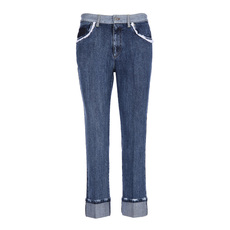 Miu Miu Cotton Lace Trim Jeans Blue