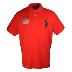 Ralph Lauren Embroidered Logo Polo Tee Red