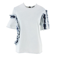 Msgm Cut & Sewn T-Shirt White/Blue